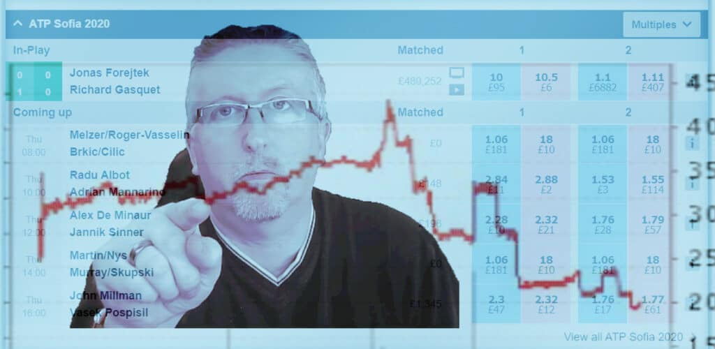 Betfair tennis trading strategies. Image shows a trader pointing at a price graph